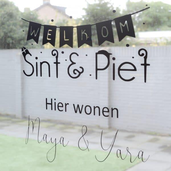 Raamsticker Welkom Sint & Piet Mini Fem