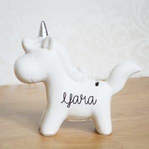 Unicorn spaarpot met naam