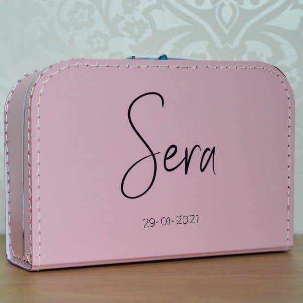 Kinderkoffertje met naam en geboortedatum Mini Fem