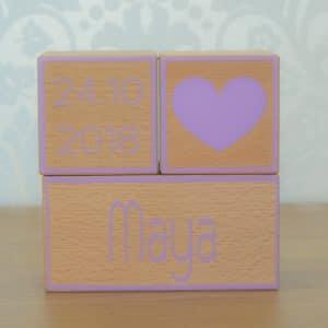 Geboorteblok hart pastelpaars Mini Fem