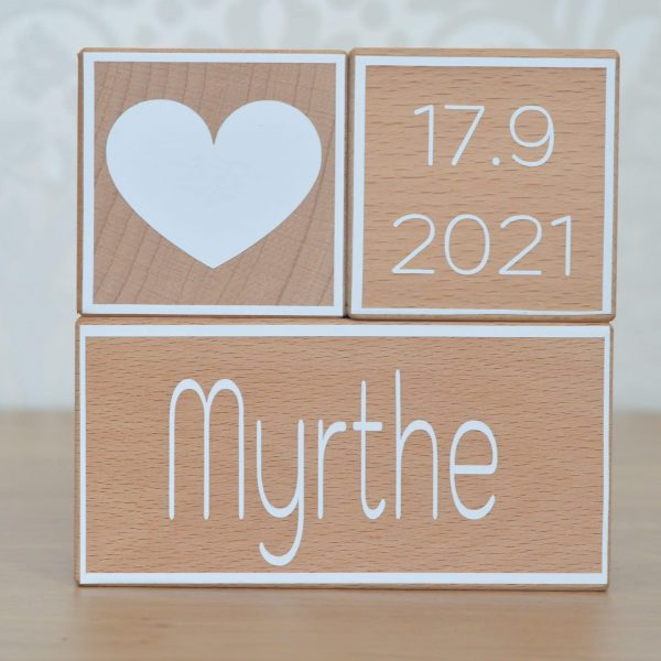 Geboorteblok hart wit Mini Fem 2
